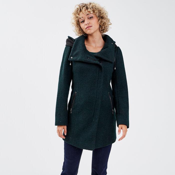 Manteau cintré asymétrique bleu foncé femme