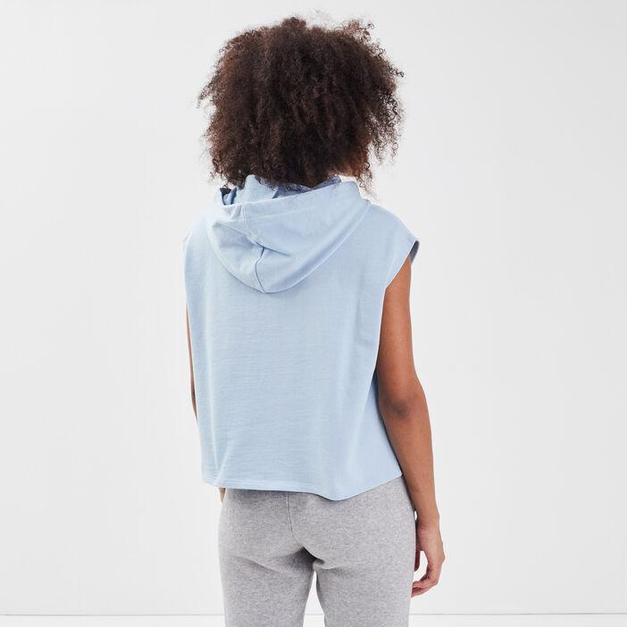 Sweat sans manches à capuche bleu pastel femme