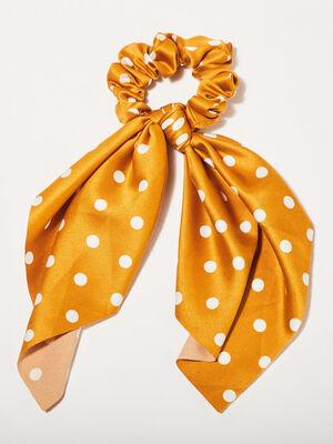 Chouchou avec noeud jaune moutarde femme