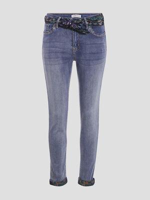 Jeans slim avec foulard denim double stone femme