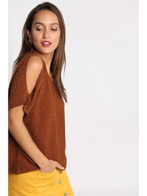 Pull manches courtes ajourees marron femme