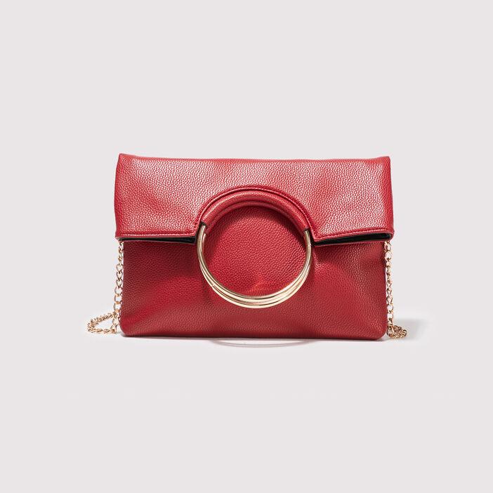 Sac pochette avec anneaux rouge femme