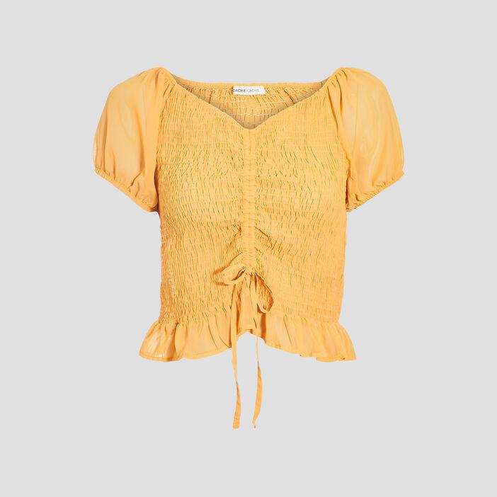Blouse manches courtes jaune foncé femme