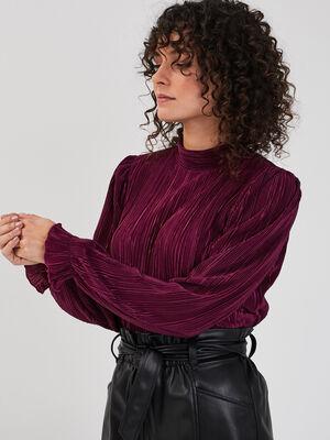 Blouse manches longues plissee prune femme