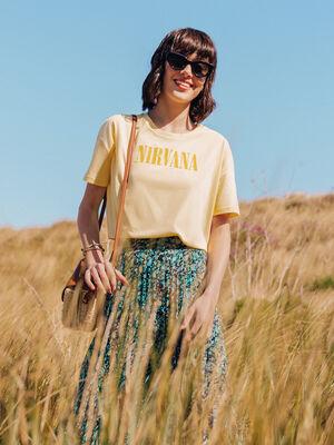 T shirt Nirvana jaune clair femme