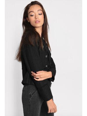 Veste cintree a boutons noir femme