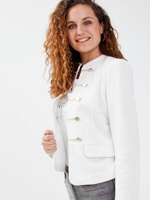 Veste cintree avec boutons ecru femme