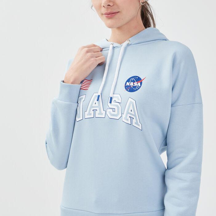 Sweat à capuche NASA bleu pastel femme