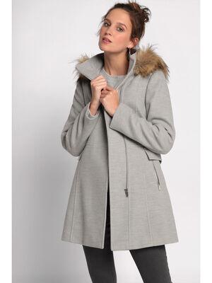 Manteau cintre a capuche gris clair femme
