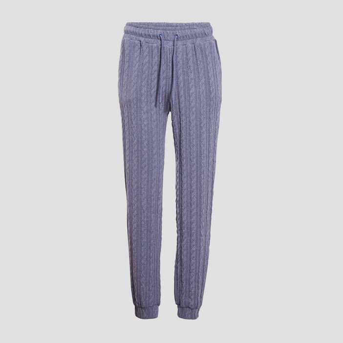 Pantalon tricot bleu gris femme