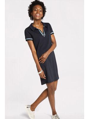 Robe polo courte ajustee bleu marine femme