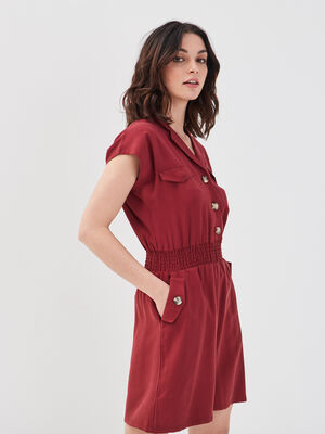 Robe evasee taille smockee bordeaux femme