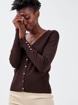 Gilet boutonne marron fonce femme