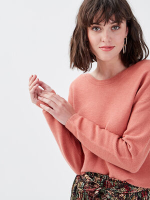 Pull manches longues dos zippe vieux rose femme