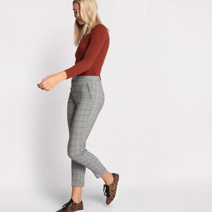 Pantalon carotte volants noir femme