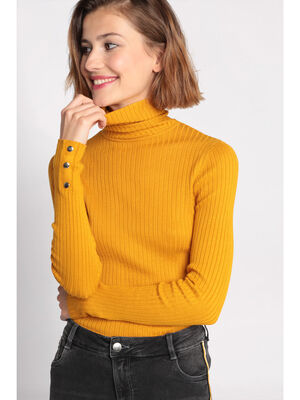 Pull manches longues col roule jaune moutarde femme