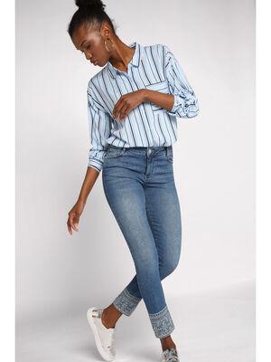 Jeans skinny bas brode denim stone femme