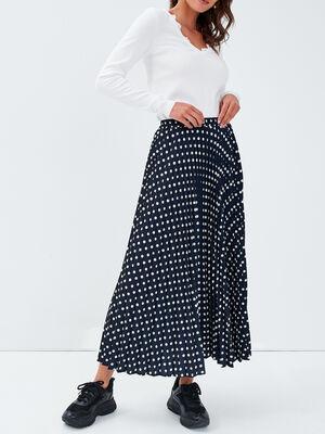 Jupe longue evasee plissee noir femme