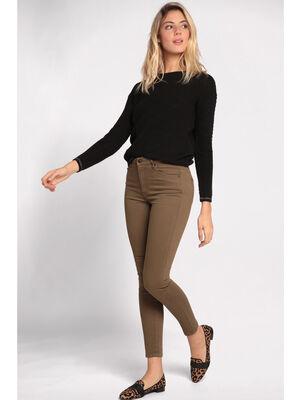 Jeans skinny taille haute vert kaki femme