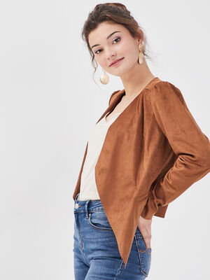 Veste droite effet suedine marron femme