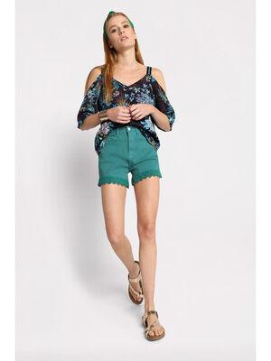 Short en jean avec macrame vert turquoise femme