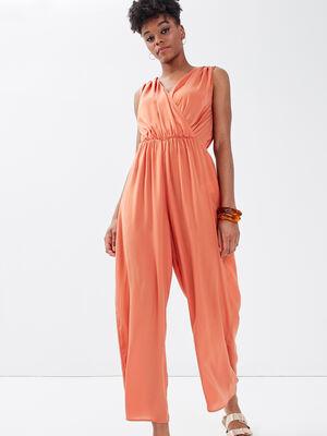 Combinaison pantalon satinee terracotta femme