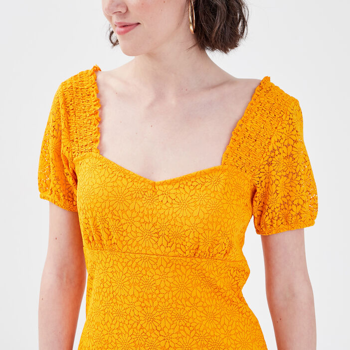 Robe droite avec dentelle jaune foncé femme