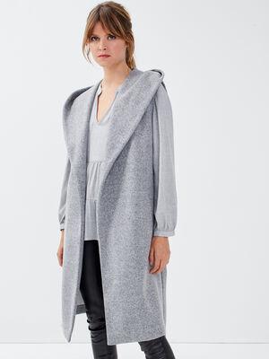 Manteau droit a capuche gris clair femme