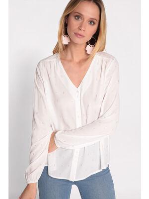 Chemise manches longues col V blanc femme