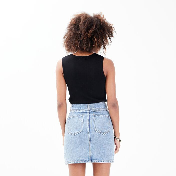Pull débardeur avec ouverture noir femme