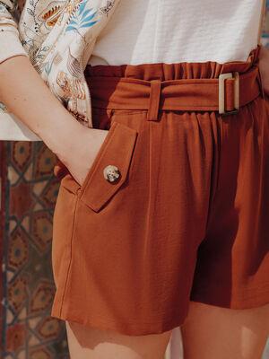 Short ceinture fluide marron femme