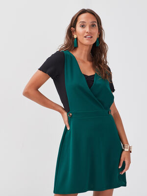 Robe patineuse boutons taille vert fonce femme