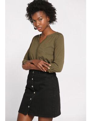 Jupe droite courte boutonnee denim noir femme