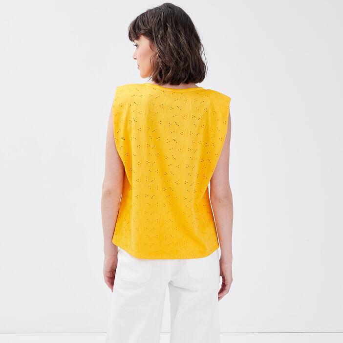 T-shirt manches courtes jaune foncé femme