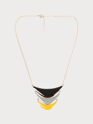 Collier trois rangs metal jaune fonce femme