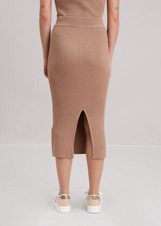 Jupe tricot midi ajustee beige femme