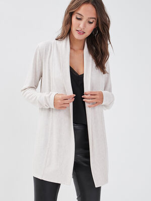 Gilet col chale maille chinee beige femme
