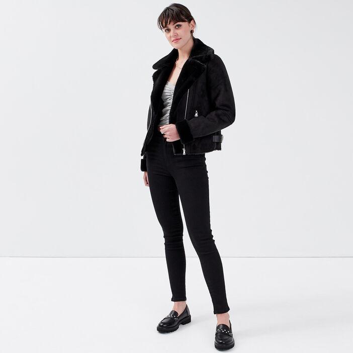 Jeans slim 5 poches denim noir femme