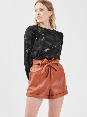 Short paperbag similicuir marron cognac femme