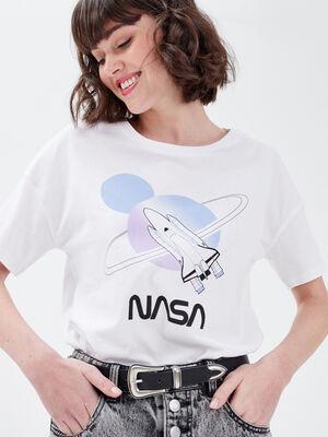 T shirt manches courtes NASA blanc femme