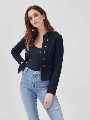 Veste cintree style officier bleu marine femme