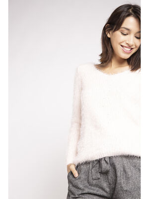 Pull shaggy manches longues col V rose clair femme