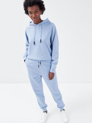 Pantalon jogging molletonne bleu clair femme