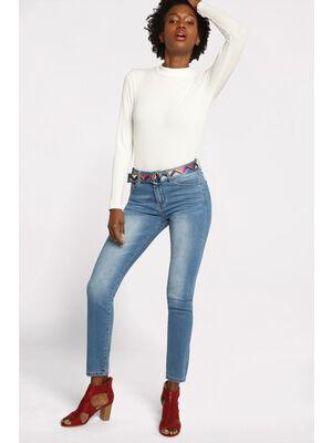 Jeans coupe regular effet used bleu fonce femme