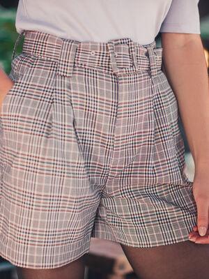Short droit ceinture blanc femme