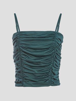 Debardeur bretelles fines vert fonce femme