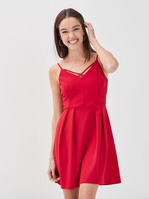 Robe courte evasee a bretelles rouge femme