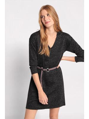 Robe droite a ceinture gris fonce femme