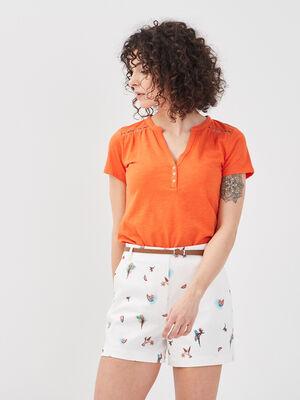 T shirt manches courtes ajoure orange femme