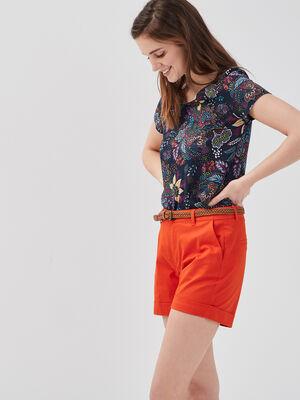 Short droit ceinture orange femme
